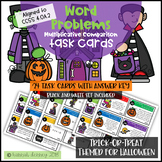 Halloween Trick-or-Treat Word Problem Task Cards CCSS 4.OA.2