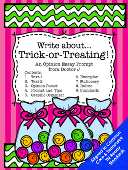 Halloween Trick-or-Treat Opinion Essay Common Core TN Ready Aligned