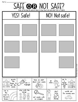 halloween trick or treating safety sort first grade kindergarten - Halloween Safety Worksheets