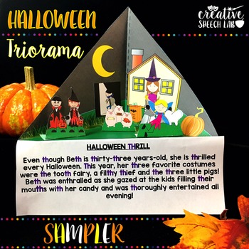 Halloween Triorama Sampler for Articulation, Language and Social Skills