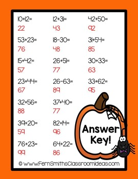 Halloween - Two Digit Addition Without Regrouping Center Game