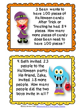 Halloween Two Digit Addition and Subtraction Task Cards