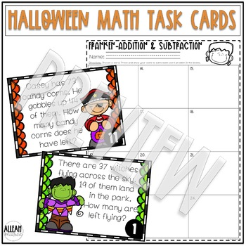 Halloween Two-Digit Addition and Subtraction Word Problem Task Cards