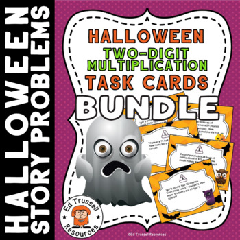 Halloween Two-Digit Multiplication Task Cards Bundle
