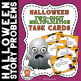 Halloween Two-Digit Multiplication Story Problem Task Cards