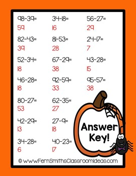 Halloween - Two Digit Subtraction With Regrouping Center Game