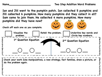 Halloween Two Part or Multi-Step Word Problem
