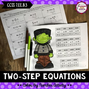 Halloween Two-Step Equation Color By Number Activity
