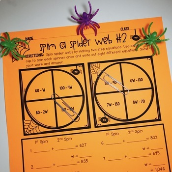 Halloween Two-Step Equations Activity