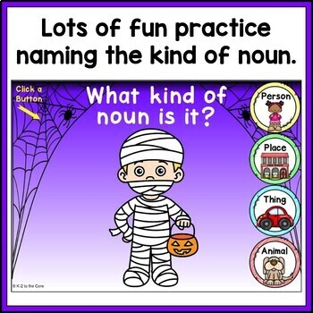 Halloween Types of Nouns Game | Digital BOOM Task Cards