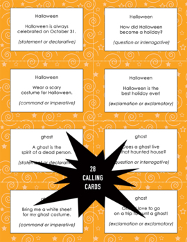 Halloween Types of Sentences Bingo