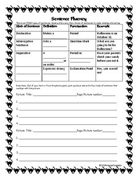 Halloween - Types of Sentences Activity FREE