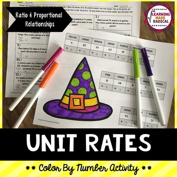 Halloween Unit Rate Color By Number Activity