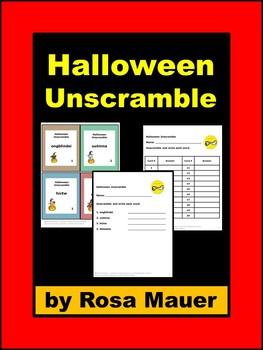 Halloween Word Unscramble