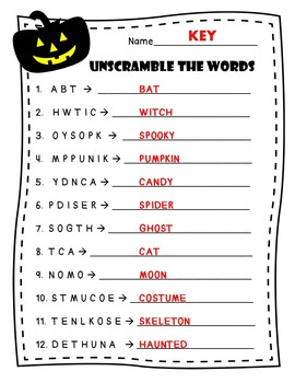 Halloween Unscramble Cards and Worksheets