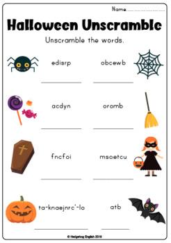 Halloween Unscramble Worksheet