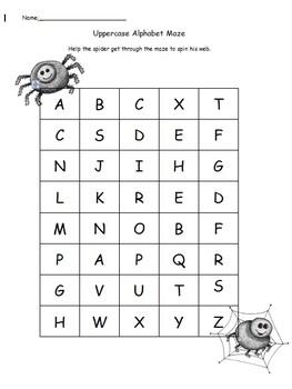 Halloween Uppercase Alphabet Maze