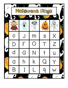 Halloween Uppercase & Lowercase Letter Bingo