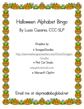 Halloween Uppercase and Lower Alphabet Bingo and Alphabet Cards