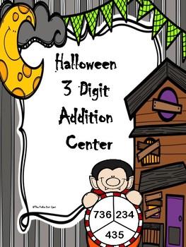 Halloween Vampire 3 Digit Addition Spinner Game