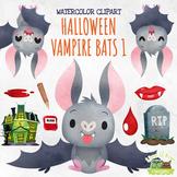 Halloween Vampire Bats 1 Watercolor Clipart   Instant Down