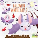 Halloween Vampire Bats 2 Watercolor Clipart   Instant Down