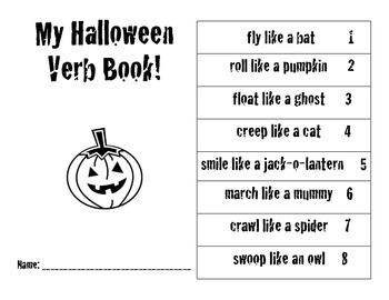Halloween Verb Book - Common Core