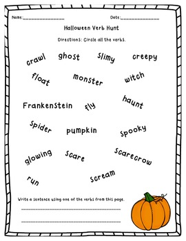 Halloween Verb Hunt By Excelling In Second Teachers Pay Teachers