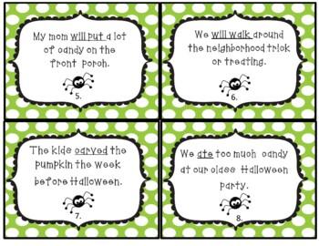 Halloween Verb Tense Task Cards