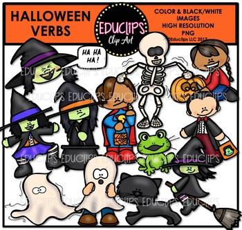 Halloween Verbs Clip Art Bundle {Educlips Clipart}