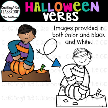 Halloween Verbs Clip Art {Halloween Clip Art}