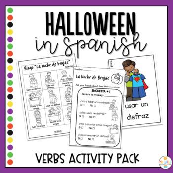 Halloween Verbs in Spanish Activity Pack