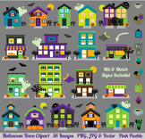 Halloween Village and Haunted House Clipart Clip Art - Commercial & Personal Use