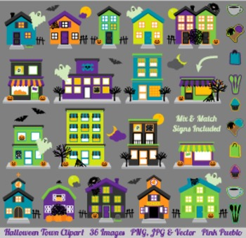 Halloween Village and Haunted House Clipart Clip Art - Com
