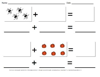 halloween visual addition worksheet set sums  by sassy crafty sped