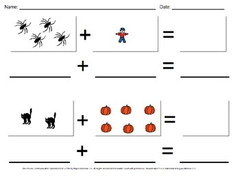 Halloween Visual Addition Worksheet Set (Sums 0-10)