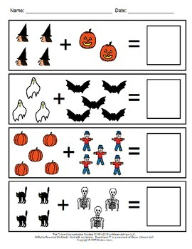 Halloween Visual Addition Worksheets