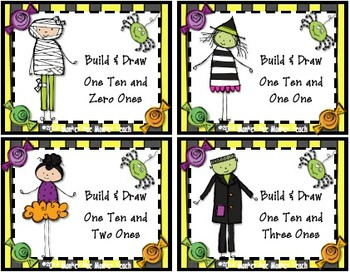 Halloween  Visual Place Value Build Tens  and Ones Only