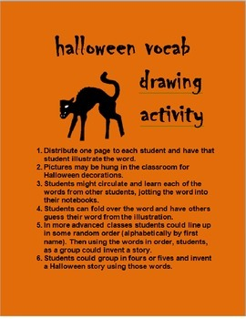 Halloween Vocab Drawing Activity FRENCH