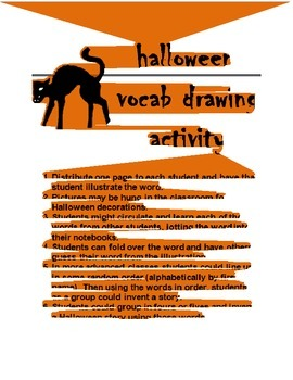 Halloween Vocab Drawing Activity SPANISH