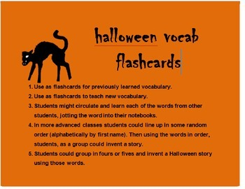 Halloween Vocab Flash Cards FRENCH