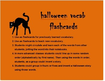 Halloween Vocab Flash Cards SPANISH