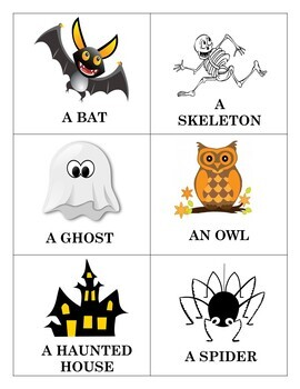 Halloween Vocabulary Bingo Game and Word Wall in English
