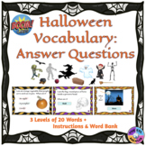 Halloween Vocabulary Boom Cards™: Answer the Questions (Di