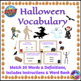 Halloween Vocabulary Boom Cards™: Match Definitions & Word