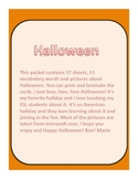 Halloween Vocabulary Cards with Pictures