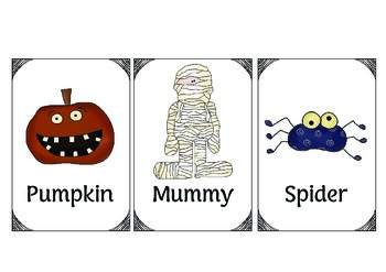 Halloween Vocabulary Cards with Reading Activity