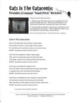 "Vocabulary & Language Halloween Activity: ""Cats In The Catacombs"""