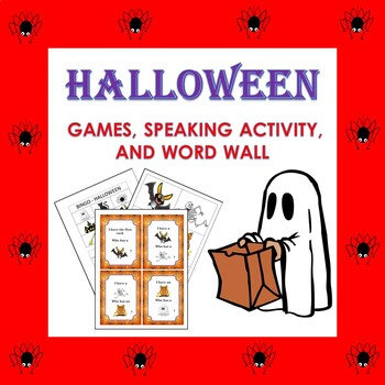 Halloween Vocabulary Games and Word Wall in English