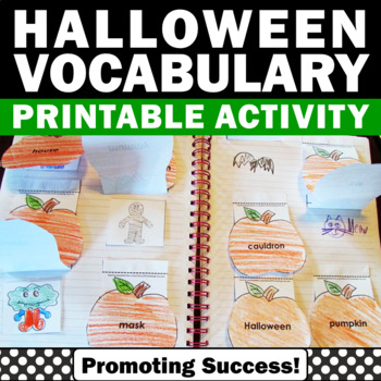 Halloween Activities, Vocabulary Interactive Notebook, ESL Centers
